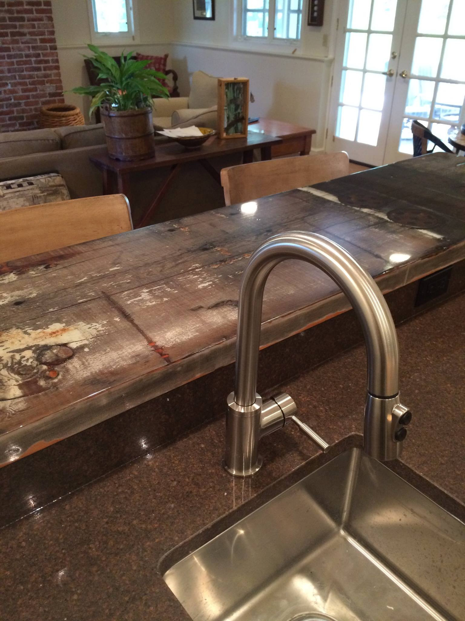 Custom Installation - Wet-bar counter-top by IGL Recycled Timbers. Early 1900's