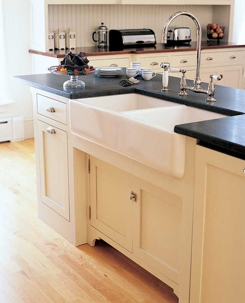 Houzz Kitchen Islands: What Type Of Apron Front Sink Material Is Best? Also