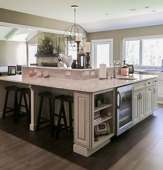 Custom Kitchen Built In Island Seating Traditional