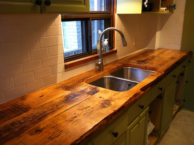 Custom kitchen counter with reclaimed wood - Traditional - Kitchen ...