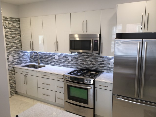 Custom Kitchen In White Acrylic Cabinets And Whitney Cambria Quartz  Modern Kitchen