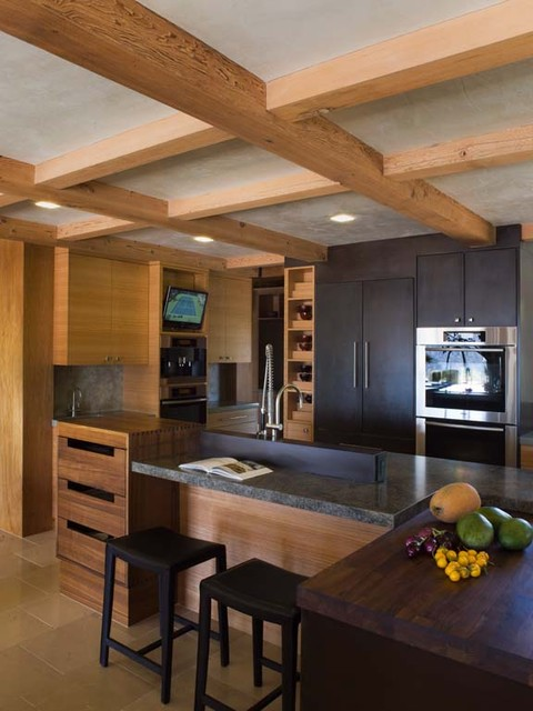 custom kitchen island with granite counters, dovetail drawers, ceiling beams asian kitchen
