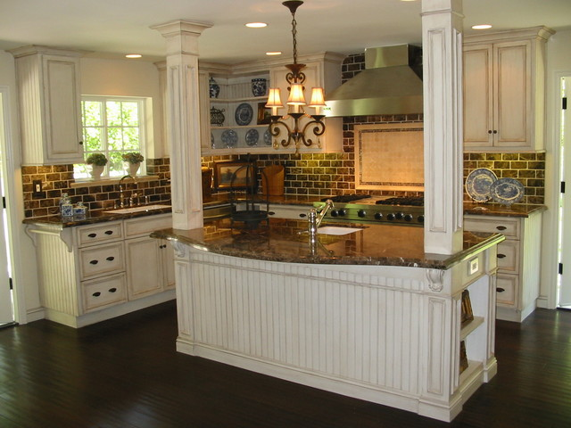 Custom Kitchen Renovation Antique Cream Glazed Cabinets mediterranean kitchen