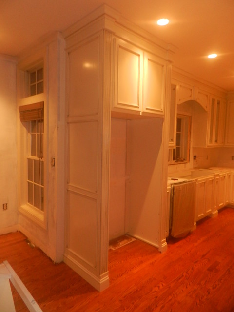 Custom Kitchen with Sherwin Williams Restful White and glazed with a brown glaze