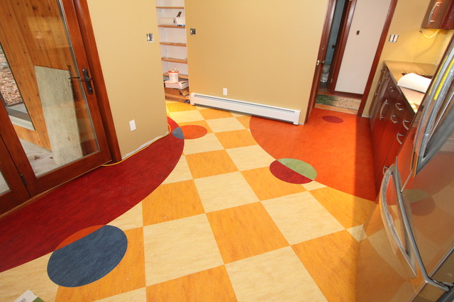 custom linoleum kitchen floor - eclectic - kitchen - bridgeport