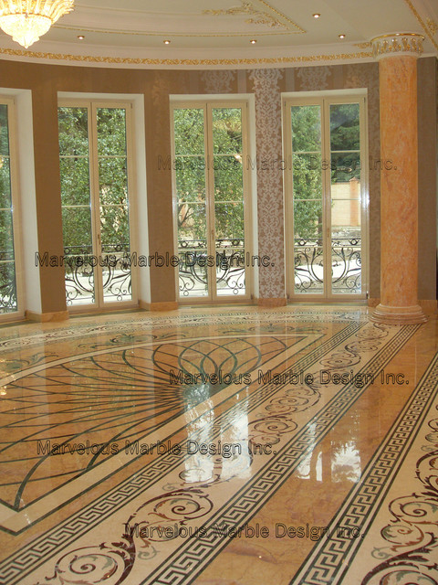 Custom marble floor designs for Stone kitchen floor ideas