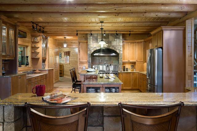 Custom Northern Maine Log Home Estate Rustic Kitchen