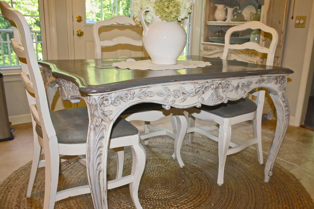 Custom Painted French Country Antique Table Eclectic