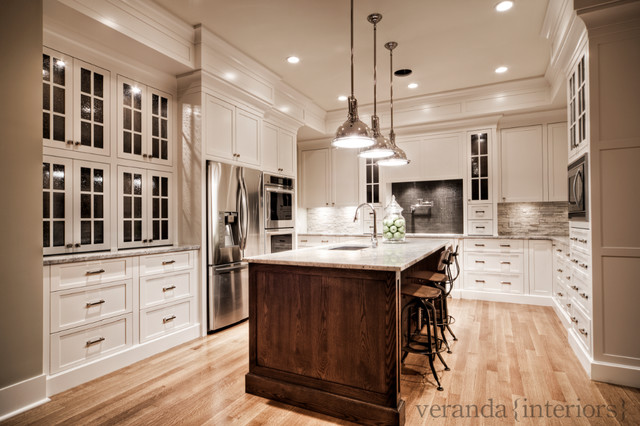 Custom painted kitchen with oak island contemporary-kitchen