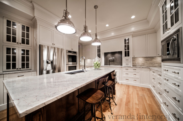 Custom painted kitchen with oak island contemporary kitchen