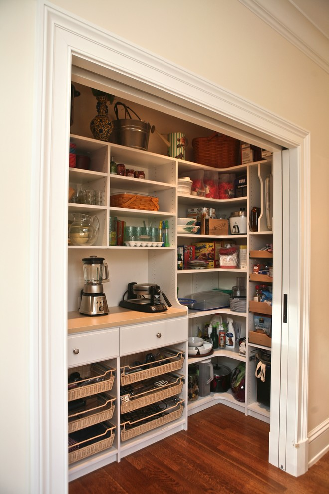 Elegant kitchen pantry photo in Boston with white cabinets and open cabinets