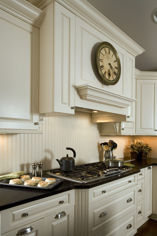 Is the backsplash beadboard painted to match the ivory for Beadboard kitchen cabinets for sale