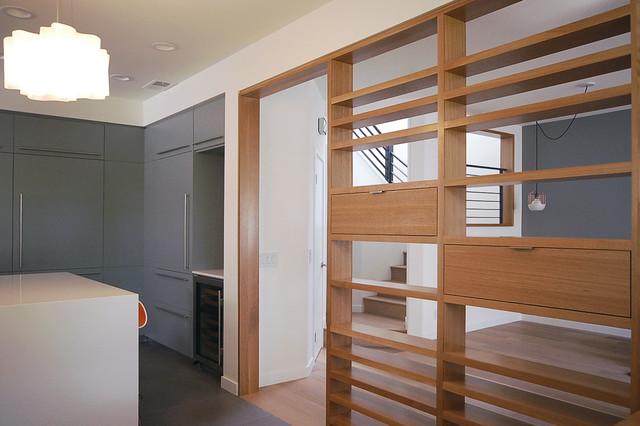 Custom Rift Oak Slat Wall Screen Midcentury Kitchen