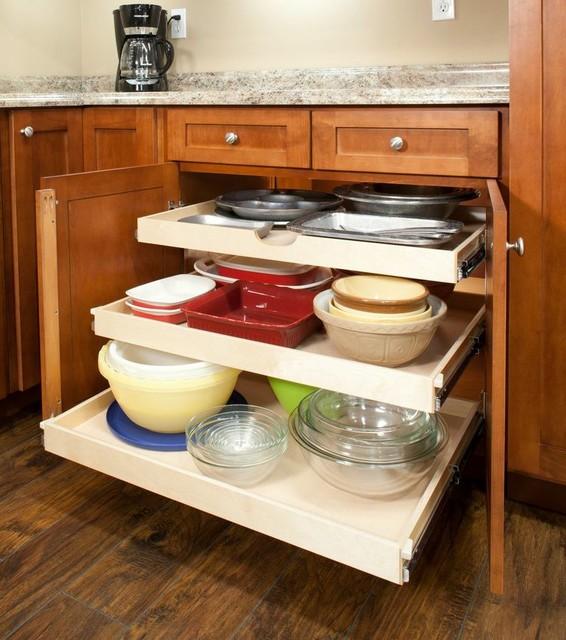 Custom slide out shelves traditional kitchen for Traditional kitchen shelves