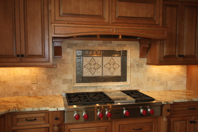 Custom stone backsplash traditional kitchen other by cook kozlak flooring center inc - Traditional kitchen tile backsplash ideas ...