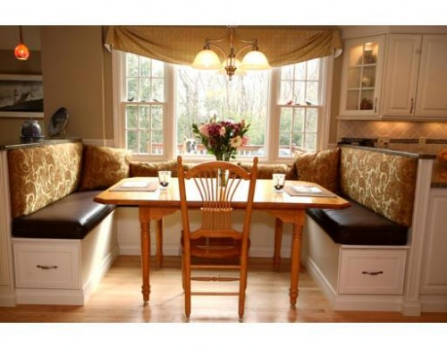 Custom Swagged Valances. Banquette Seat & Back Cushions traditional kitchen