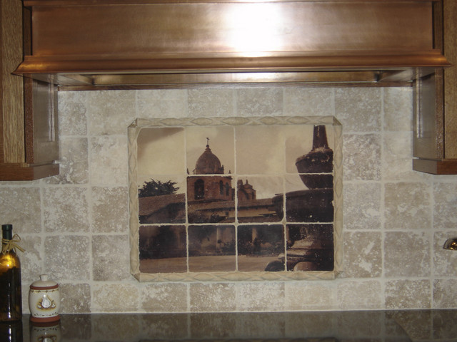 Custom Tile Mural On Tumbled Marble Tiles Mediterranean