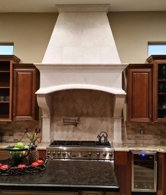 Custom Travertine Stone Kitchen Stove Range Hood