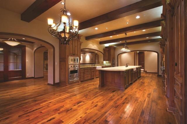 Custom Walnut Hardwood Flooring Mediterranean Kitchen Orange