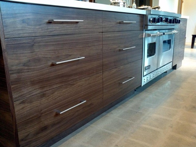 Custom Walnut Kitchen Cabinets Contemporary Kitchen