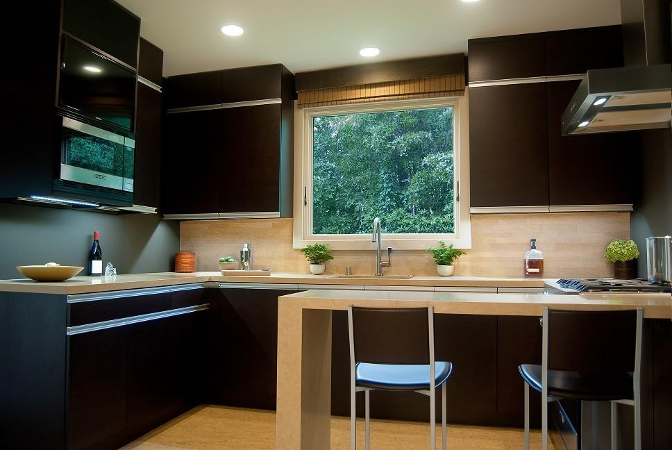 Custom Wenge Veneer Cabinets with Integral Aluminum Pull ...