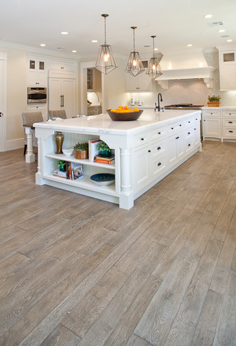 White Kitchen Hardwood Floors custom white oak hardwood floors - traditional - kitchen - orange