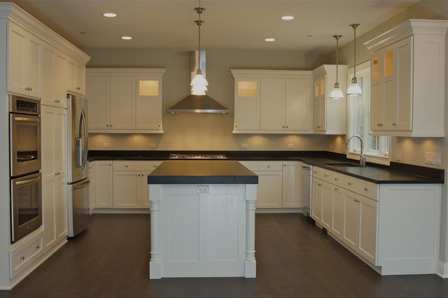 Custom, white painted cabinets with flat panel, Shaker-style door ...