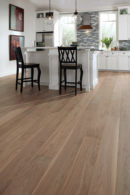 Custom Wide Plank Wood Floors Transitional Kitchen