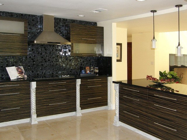 Custom zebrano wood kitchen for Kitchen ideas zebrano