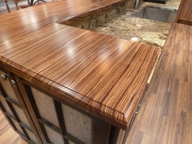 Custom Zebrawood countertop - Modern - Kitchen - other metro - by The ...