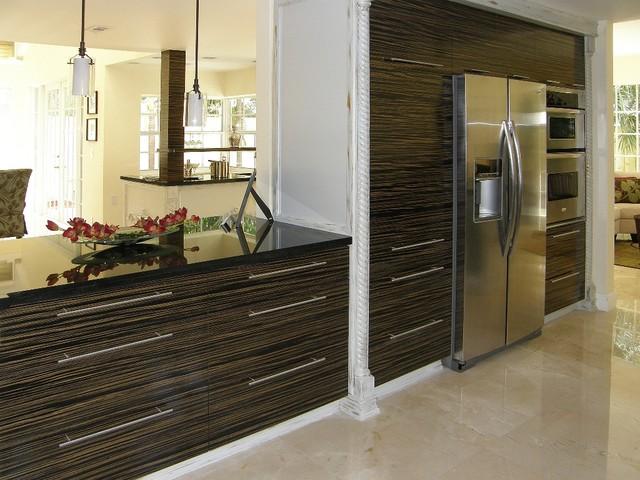 Custom Zebrawood Kitchen Cabinets