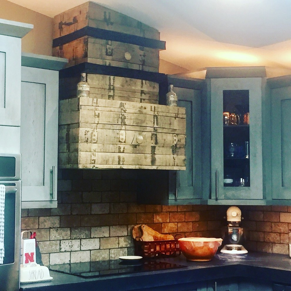 Customer created Whiskey Barrel Hood to compliment our 2tone Kitchen Design