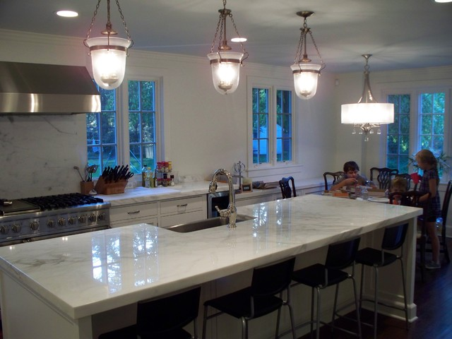 customer s new kitchen island and eating area