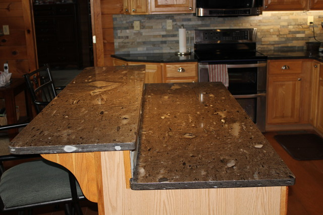 Cygnus Coffee Brown Granite Rustic Kitchen Kansas