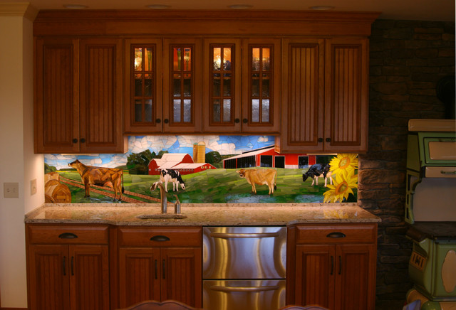 Dairy farm kitchen backsplash and stained glass cabinets for Beveled glass kitchen cabinets