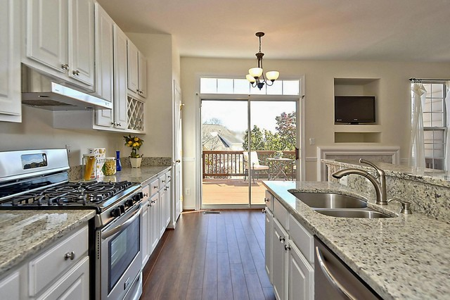 White Granite Transitional Kitchen By Vision Inc