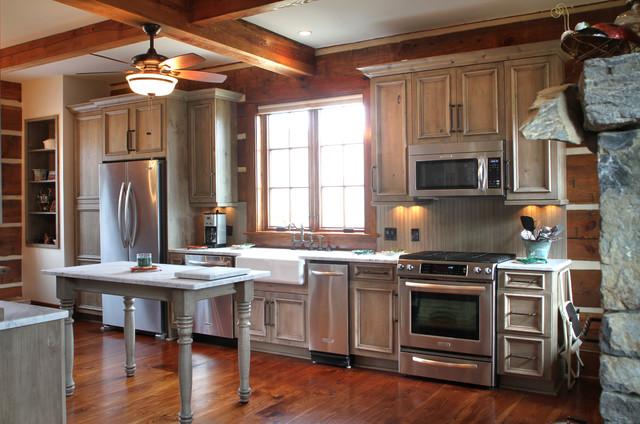 Danbury Log Cabin Rustic Kitchen Other By Marta Mitchell Interior Design