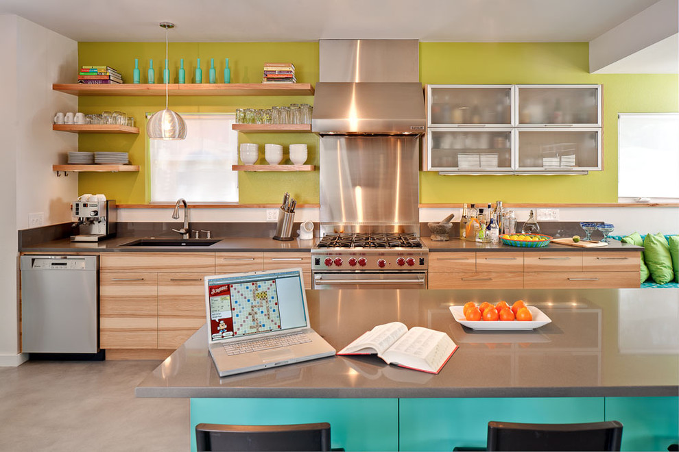 Kitchen - contemporary kitchen idea in Austin with stainless steel appliances, open cabinets, light wood cabinets and quartz countertops