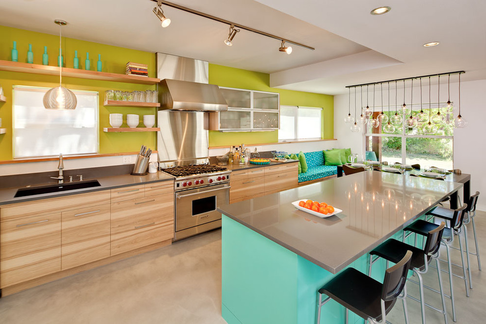 Trendy eat-in kitchen photo in Austin with stainless steel appliances, open cabinets, a single-bowl sink, medium tone wood cabinets and quartz countertops