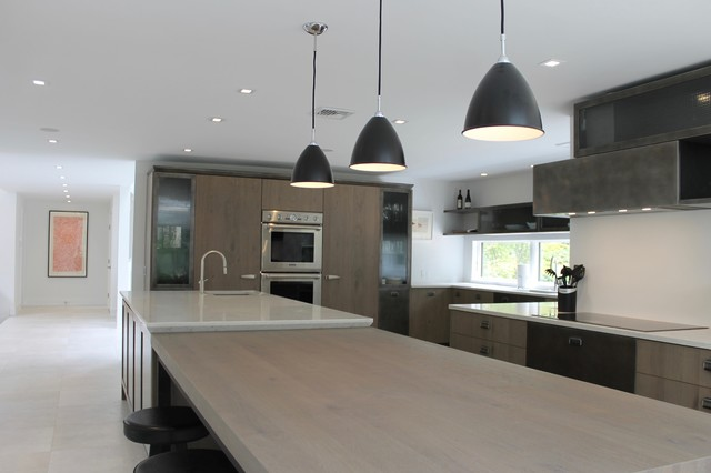 Danish Modern Lighting Over Island Modern Kitchen New York By Habitech Planning Design