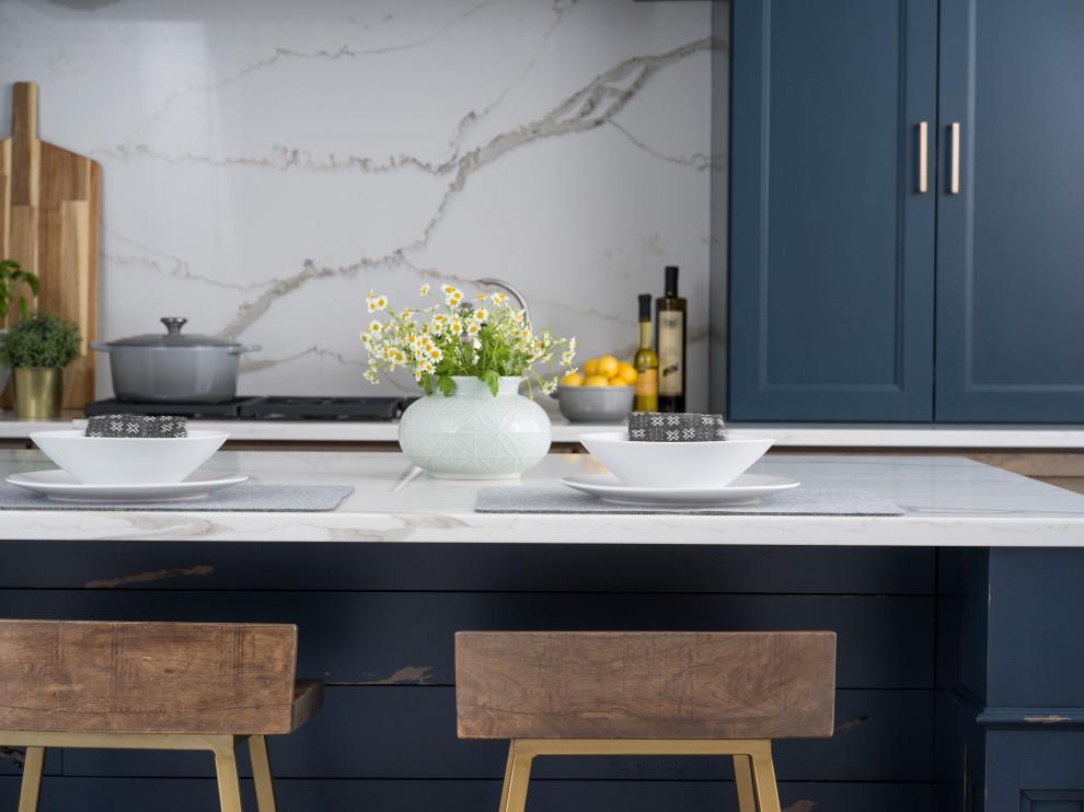 Dark Blue Kitchen Island And Cabinetry In A Modern Farmhouse Design Farmhouse Kitchen Orlando By Dura Supreme Cabinetry Houzz