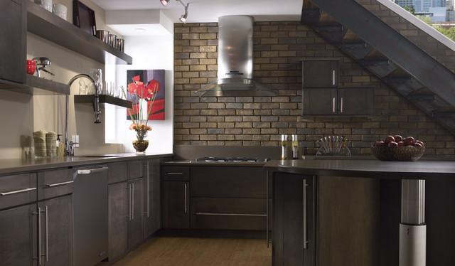 brick accent wall kitchen