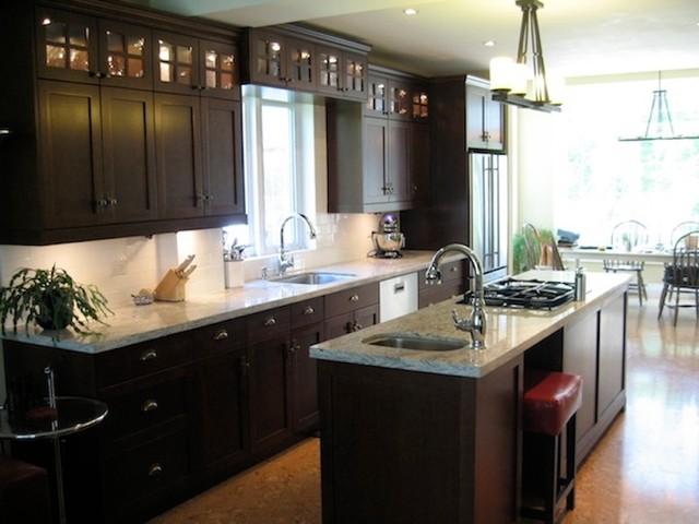 Dark brown kitchen 2 for Brown and black kitchen designs