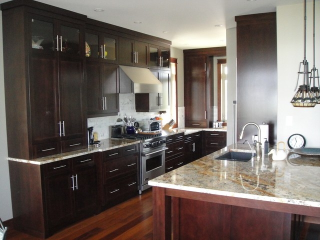 Dark brown kitchen - Modern kitchen ideas with brown kitchen cabinets ...
