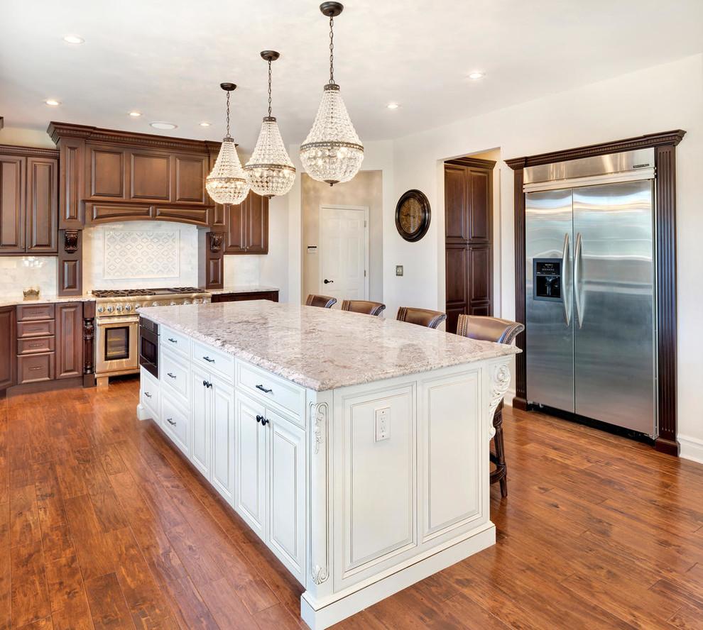 Brown Kitchen Cabinets White Island Dark Brown Kitchen with White Island   Traditional   Kitchen   New