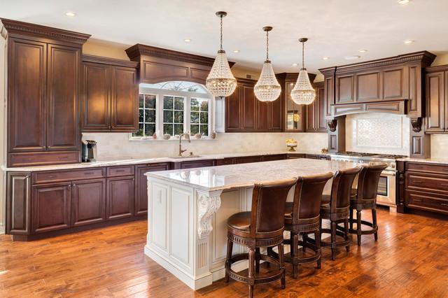 dark brown kitchen with white island  traditional