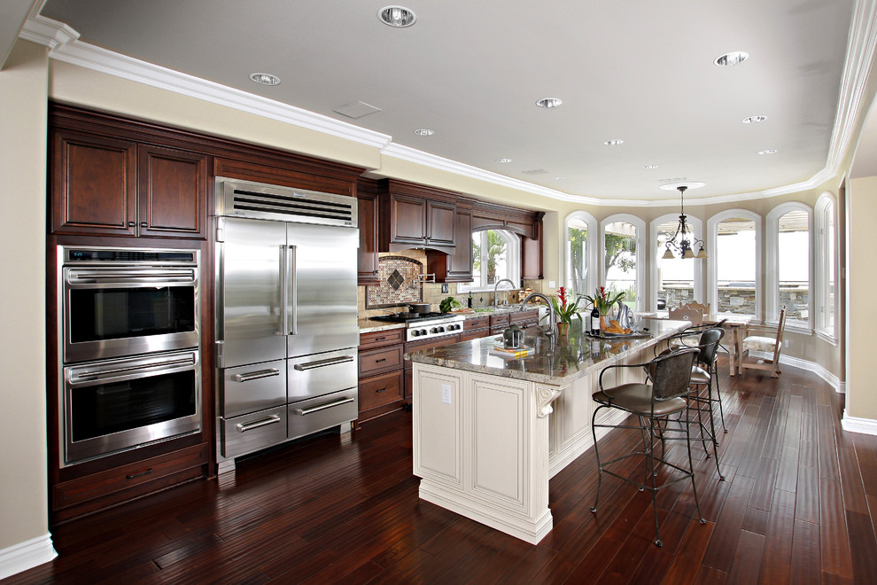 Dark Cabinets With White Island In Laguna Niguel Ca Traditional Kitchen Orange County By Preferred Kitchen Bath