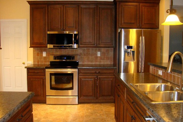 Dark cherry cabinets with black glaze tile backsplash hd for Hd kitchen cabinets