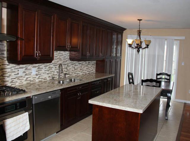 Dark Cherry Coloured Custom Kitchen Cabinets With Granite Countertop
