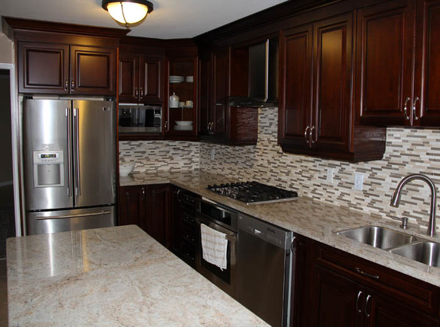 Dark Cherry Coloured Custom Kitchen Cabinets With Granite Countertop
